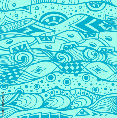 Abstract Handmade Ethno Zentangle Zendoodle Background In Blue For Decoration Package Or Wallpaper And Other