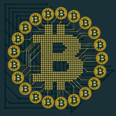 Abstract technology bitcoin symbol. Virtual money / Digital currency. Vector illustration. earth. gold