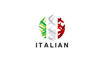 Abstract Italian flag logo designs vector, Italian Travel logo Template