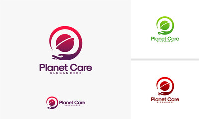 Planet Care logo, Global Care logo designs vector, World Charity logo template