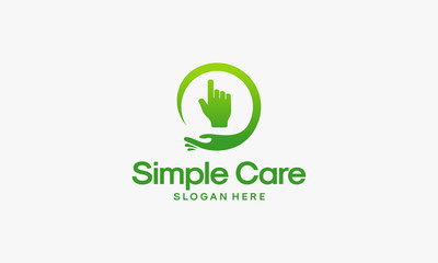 Simple Care logo designs vector, Online Care logo template