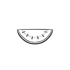Vector hand drawn Watermelon outline doodle icon. Watermelon sketch illustration for print, web, mobile and infographics isolated on white background.