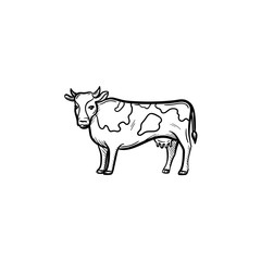 Vector hand drawn Cow outline doodle icon. Cow sketch illustration for print, web, mobile and infographics isolated on white background.