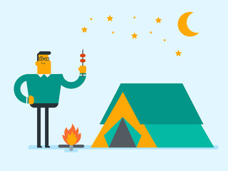 Young caucasian white man enjoying camping picnic and roasting shashlik over the campfire in nature at night on the background of tent. Concept of camping. Vector cartoon illustration. Square layout.