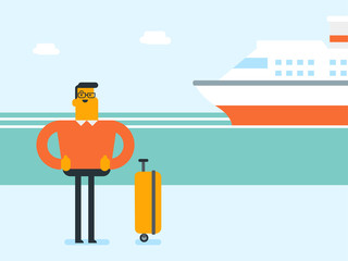 Young smiling happy caucasian white tourist with a suitcase standing on the background of cruise liner. Travel and tourism, vacation and holiday concept. Vector cartoon illustration. Square layout.