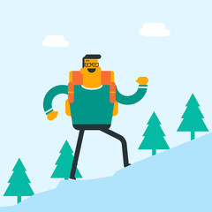 Young caucasian white backpacker with backpack walking outdoor. Cheerful backpacker hiking in the forest during summer trip. Concept of hike and backpacking. Vector cartoon illustration. Square layout