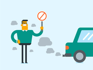 Young caucasian white man wearing mask because of toxic air pollution and holding red forbidden traffic sign while standing near the car with traffic fumes. Vector cartoon illustration. Square layout.