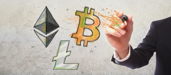 Bitcoin, Ethereum and Litecoin with businessman on gray wall background