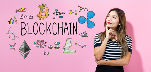 Blockchain with young woman in a thoughtful pose