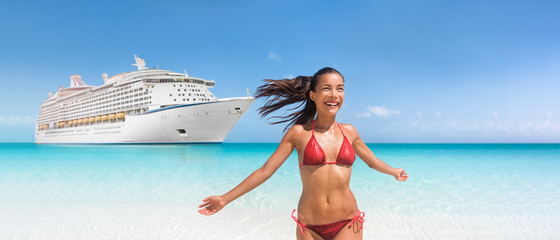 Wall Mural - Cruise ship travel Caribbean vacation bikini woman happy on tropical holidays swimming in blue ocean water. Joyful Asian girl with open arms in freedom enjoying luxury getaway.