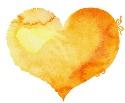 watercolor yellow heart with a lace edge