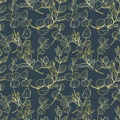 Seamless pattern, hand drawn golden leaves and flowers of eucalyptus on blue background