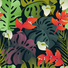 Tropical plant seamless pattern, Heliconia, palm, Anthurium and split leaf Philodendron on dark back