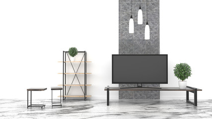TV, modern empty room interior empty white wall on floor granite. 3D rendering