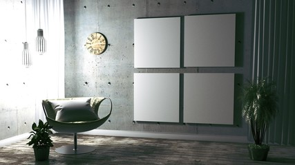 mint wall with sofa & sideboard on ceramic floor interior. 3D rendering