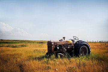 An old vintage red rusted tractor sitting in a fenced pasture in an agricultural rural summer countryside landscape