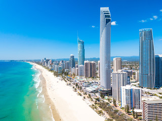 Surfers Paradise aerial view on a clear day on the Gold Coast with blue water Wall mural