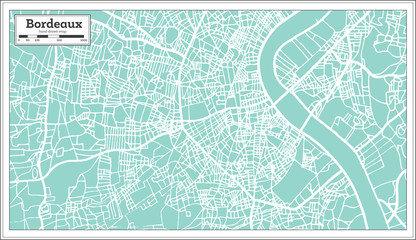 Bordeaux France City Map in Retro Style.