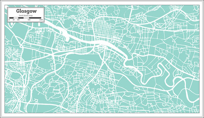 Glasgow Scotland City Map in Retro Style.
