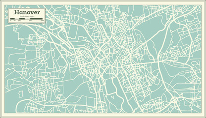 Hannover Germany City Map in Retro Style.