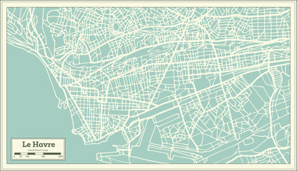 Le Havre France City Map in Retro Style.