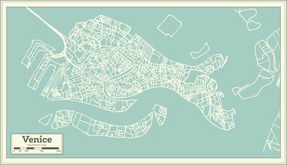 Venice Italy City Map in Retro Style.