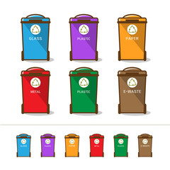 Colored recycle bin vector illustration