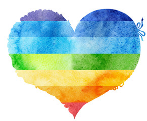 watercolor rainbow heart with a lace edge