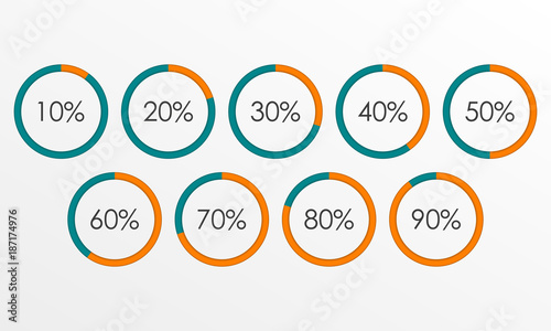 Circle Diagram Set With Percentage Pie Chart Infographics Template