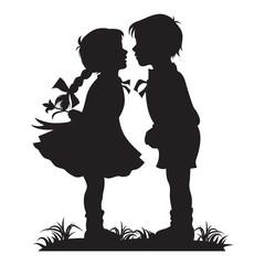 Silhouette of kids kissing, Vector