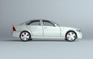 Car on gray studio background - white paint