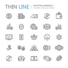 Collection of cryptocurrency thin line icons