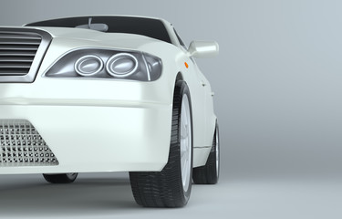 Close up of car on gray studio background