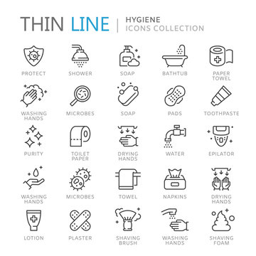 Collection of hygiene thin line icons