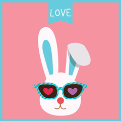 Illustration vector of a cute rabbit bunny put on sunglasses decorated with hearts for valentine's day card design on pink background.