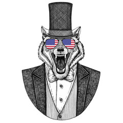 Wolf, Dog. Animal wearing jacket with bow-tie and silk hat, beaver hat, cylinder top hat. Elegant vintage animal. Image for tattoo, t-shirt, emblem, badge, logo, patch