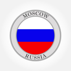 Russian flag round icon or button. Russia and Moscow circle badge. Vector illustration.