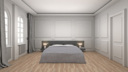 Bed Room Interior wooden floor classic and luxury style. 3d Render
