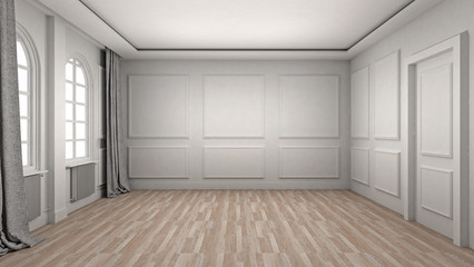 Empty Room Interior wooden floor classic and luxury style. 3d Render