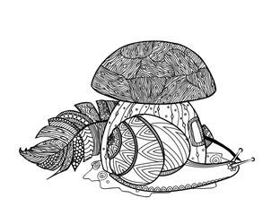 Fairytale mushroom, snail, and bird feather.