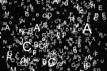 Abstract white alphabet fly on black background Wall mural