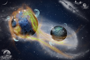 Planet with flare in space, optical fibres