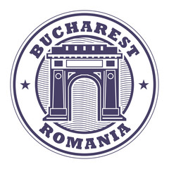 Stamp with words Bucharest, Romania inside
