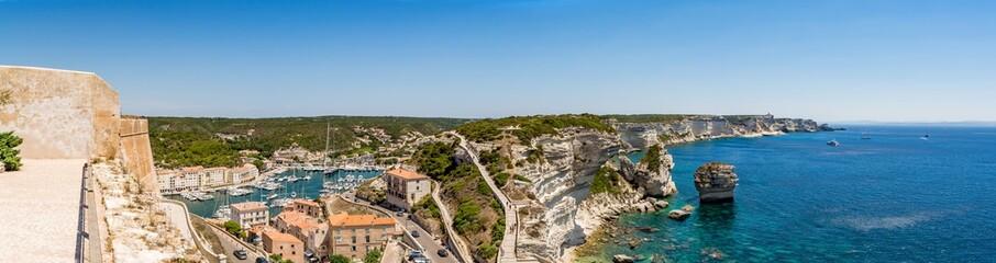 Panoramic view of Bonifacio and Corsica coastline, France