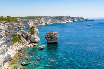 Amazing coastline of Corsica, view from Bonifacio, France