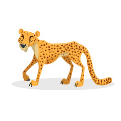 Cartoon trendy design african big cat cheetah. Wildlife and zoo vector illustration.