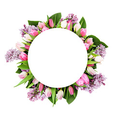 Pink tulips and lilac flowers in round frame