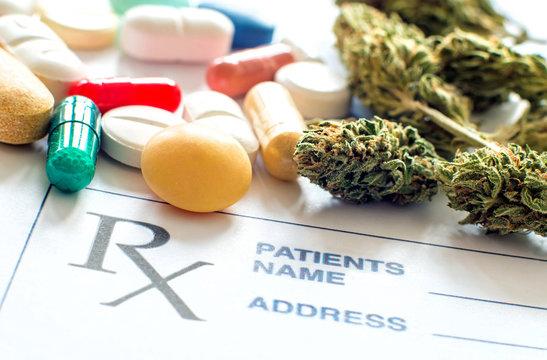 Prescription pills with medical cannabis and prescription paper