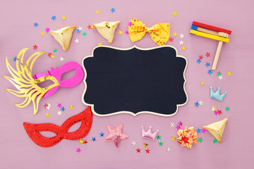 Purim celebration concept (jewish carnival holiday). Top view.