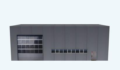 Betriebshalle aus Vorderansicht auf weiß isoliert. 3d render